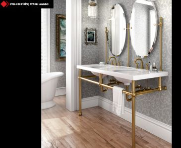 MRBLE BASİN WİTH BRASS LEG