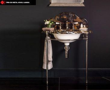 Metal Console with Rectangular Washbasin