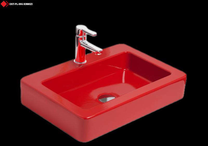 Kırmızı renkli lavabo modelleri