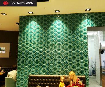 HG-114 Hexagon rölyefli yeşil seramik
