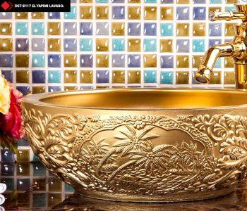 Dekoratif altın lavabolar