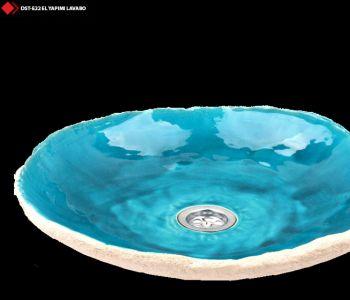 Turkuaz renkli porselen banyo lavaboları