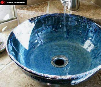 Turkuaz mavi renkli porselen lavabo
