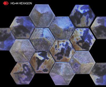 HG-44 Hexagon metalik desenli 3d karo