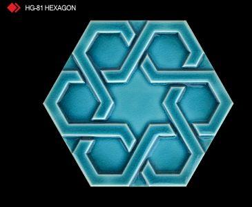 HG-81 Hexagon röylyefli turkuaz karo
