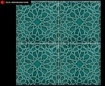 20x20 Selçuklu yıldızı firuze yeşil