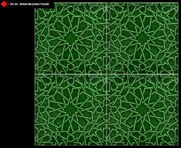 20x20 Rölyefli Selçuklu yıldızı yeşil