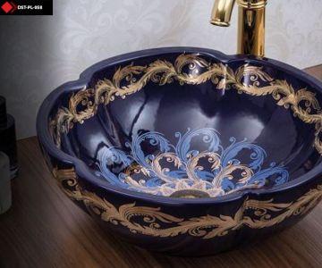 Desenli seramik lavabo