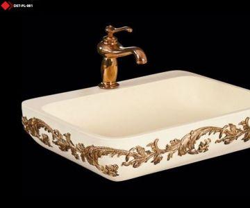 Desenli Beyaz lavabo