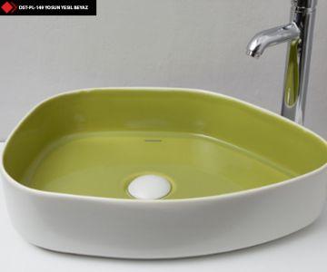 Dekoratif banyo lavaboları yosun yesili ve beyaz