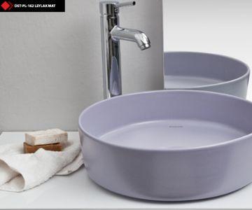 Leylak renkli banyo lavaboları