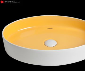 Sarı renkli porselen lavabo modelleri