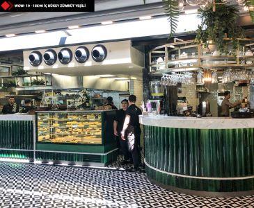 Restoran karo ürünleri yeşil wow seramik